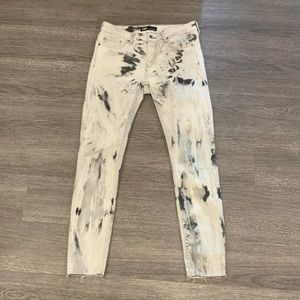 Zara Black and White Tie Dye Jeans